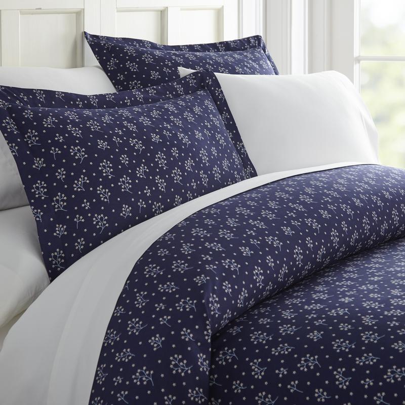 Noble Linens Premium Ultra Soft Midnight Blossoms Pattern 3 Piece Duvet Cover Set