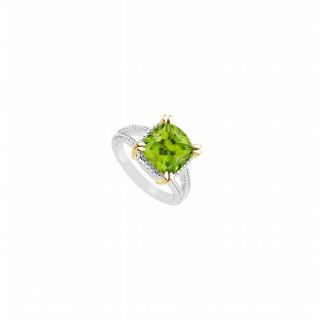 Fine Jewelry Vault UBRS71482W14PR-123RS8 Peridot Ring of 6 CT In 14k White Gold With Split Prong Yellow Gold Vermeil - Size 8