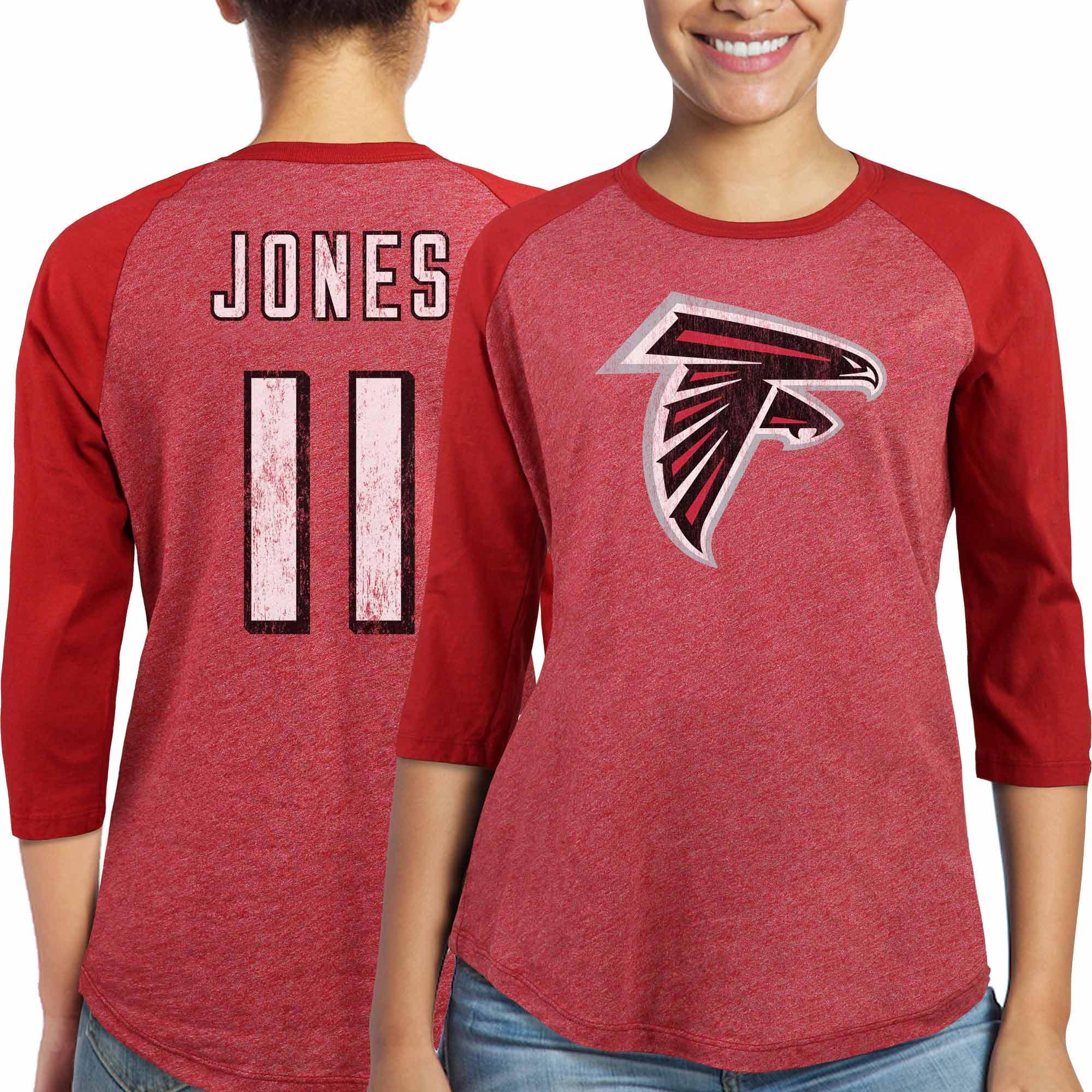 Julio Jones Atlanta Falcons Majestic Women's Player Name & Number Tri-Blend Three-Quarter Sleeve T-Shirt - Red