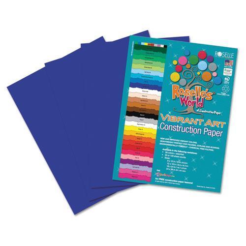 Roselle 63601 Heavyweight Construction Paper, 58 lbs., 9 x 12, Dark Blue, 50 Sheets/Pack