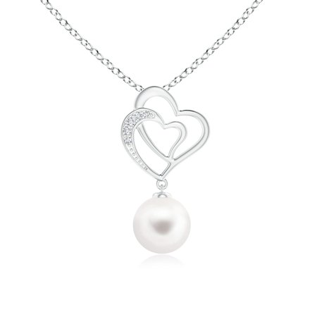 7mm 8mm Cultured Pearl Necklace (Freshwater Cultured Pearl Entwined Heart Pendant in 14K White Gold (8mm Freshwater Cultured Pearl) - SP0927FWPRD-WG-AA-8)