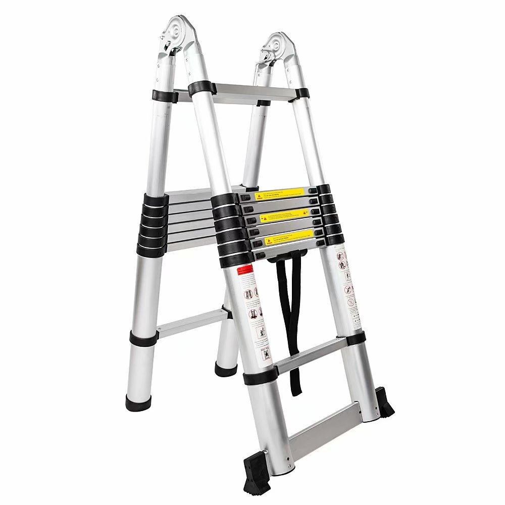 16-Step Dual Joints Aluminum Stretchable Ladder Black & Silver