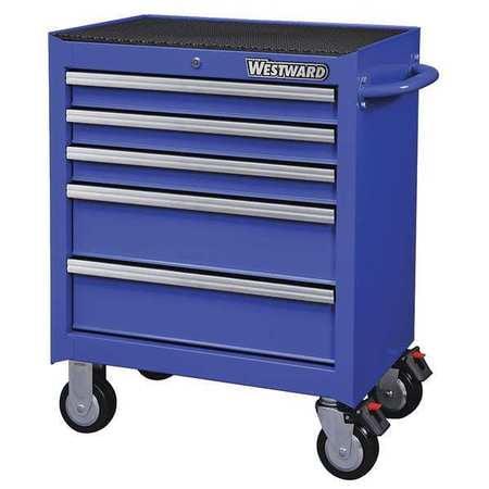 """WESTWARD Rolling Cabinet,26-11/16"""" W x 18"""" D,Blue 32H896"""