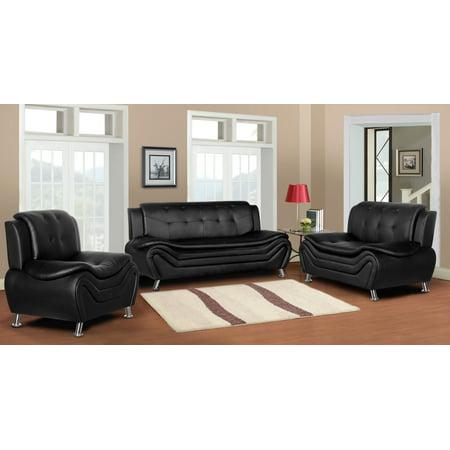Camille 3 piece living room set-Black - Walmart.com
