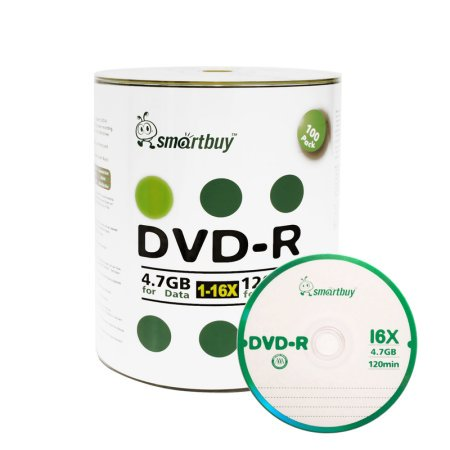 100 Pack Smartbuy 16X DVD-R 4.7GB 120Min Logo Top (Non-Printable) Data Blank Media Recordable Disc