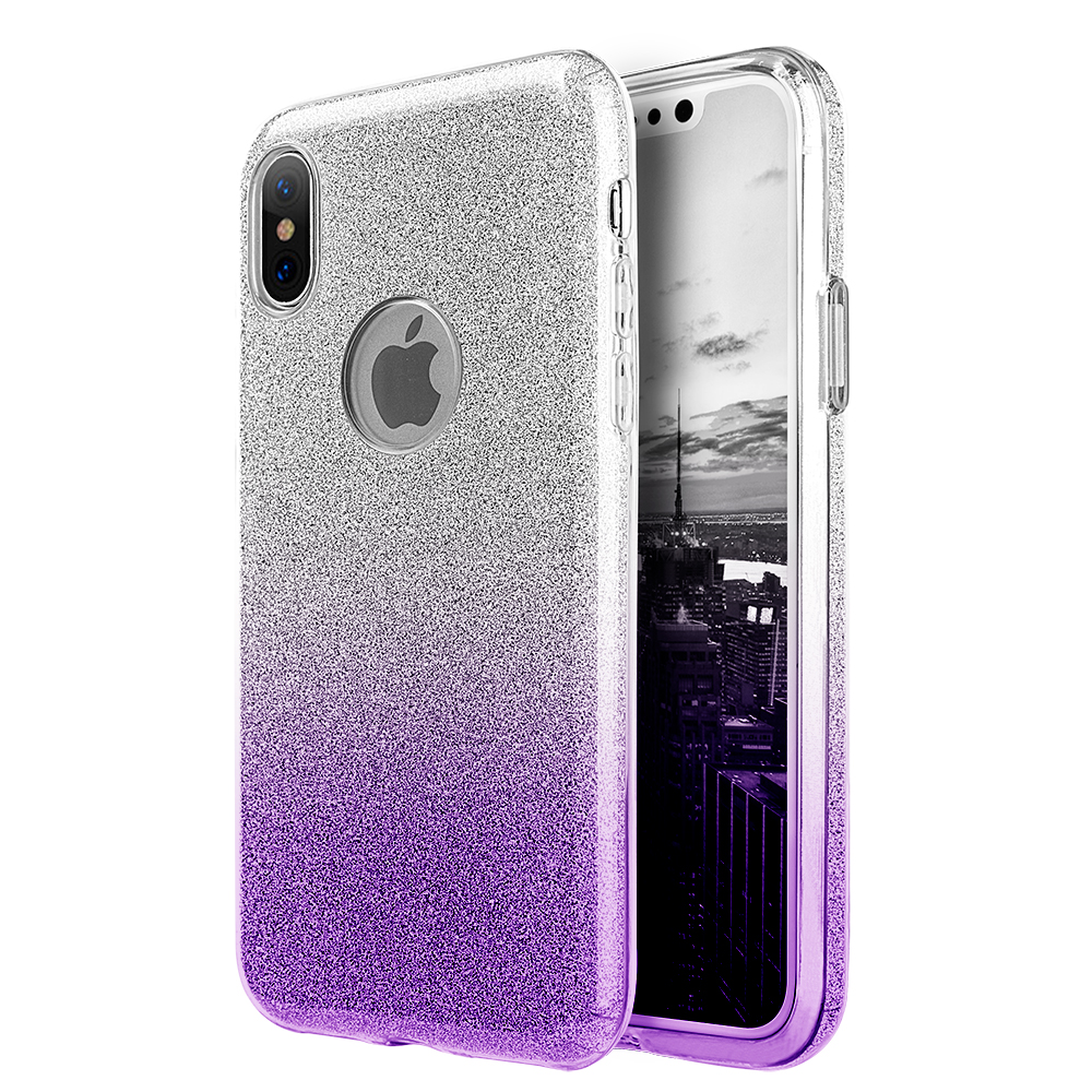Luxmo Case for iPhone Case for iPhone X Starry Dazzle Luxury Tpu Cover Case - Silver Purple