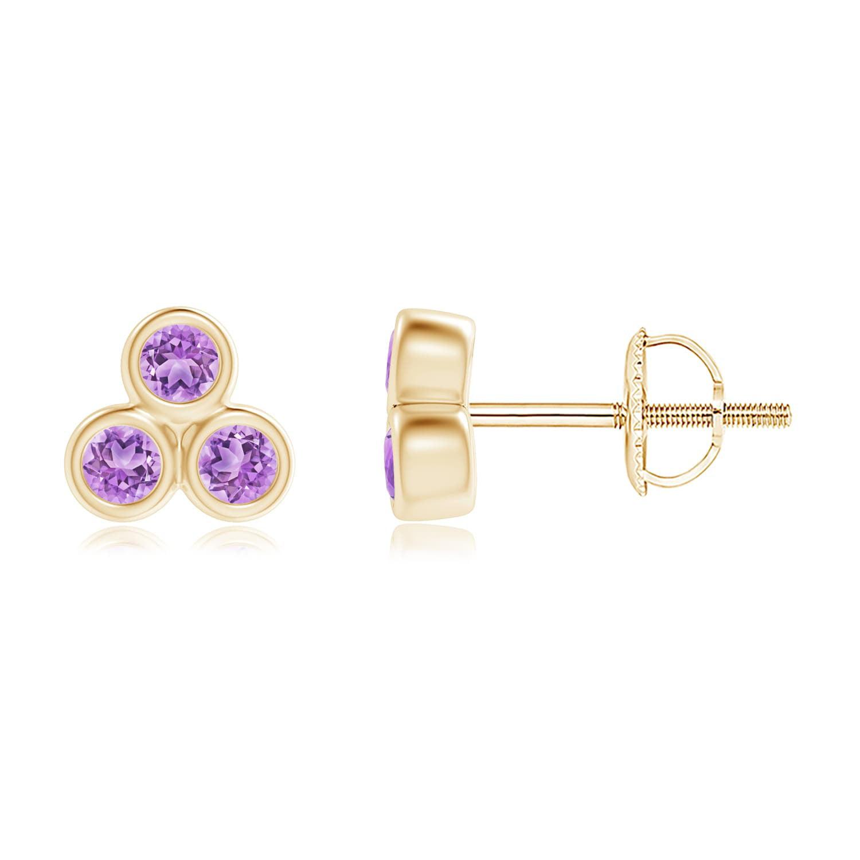 Angara Amethyst Stud Earrings in Yellow Gold 1M2mVlq