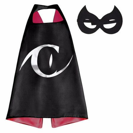 DC Comics Costume - Catwoman Logo Cape and Mask with Gift Box by Superheroes - Catwomen Costume