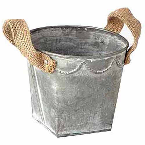 "Image of 4.75"" x 5"" Tin Pot with Burlap Handles, Pack of 12"