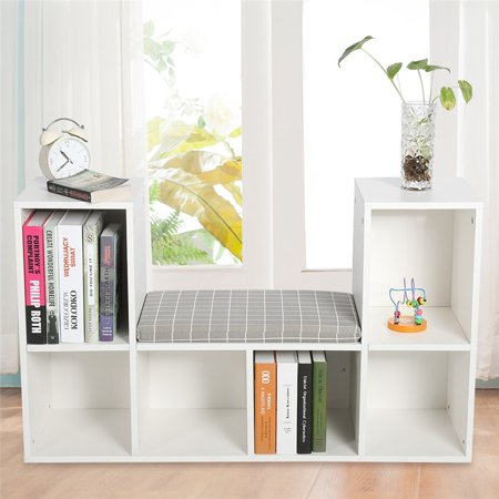 EECOO Storage Shelf Bookcase, Estink Wooden Multi-functional 6 Storage Spaces Bookshelf with Comfortable Cushion Seat as Reading Nook(White) Veneer 6 Shelf Bookcase