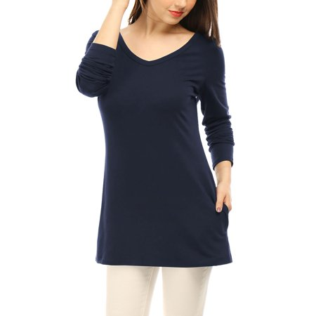 Unique Bargains Womens V Neck Long Sleeves Side Split Tunic Top W Pockets Navy Blue  Size Xl   16