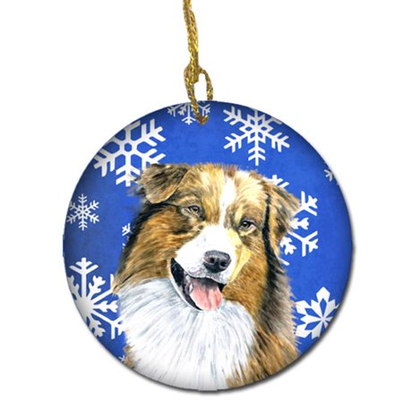 Australian Shepherd Winter Snowflakes Holiday Ceramic Ornament - image 1 de 1