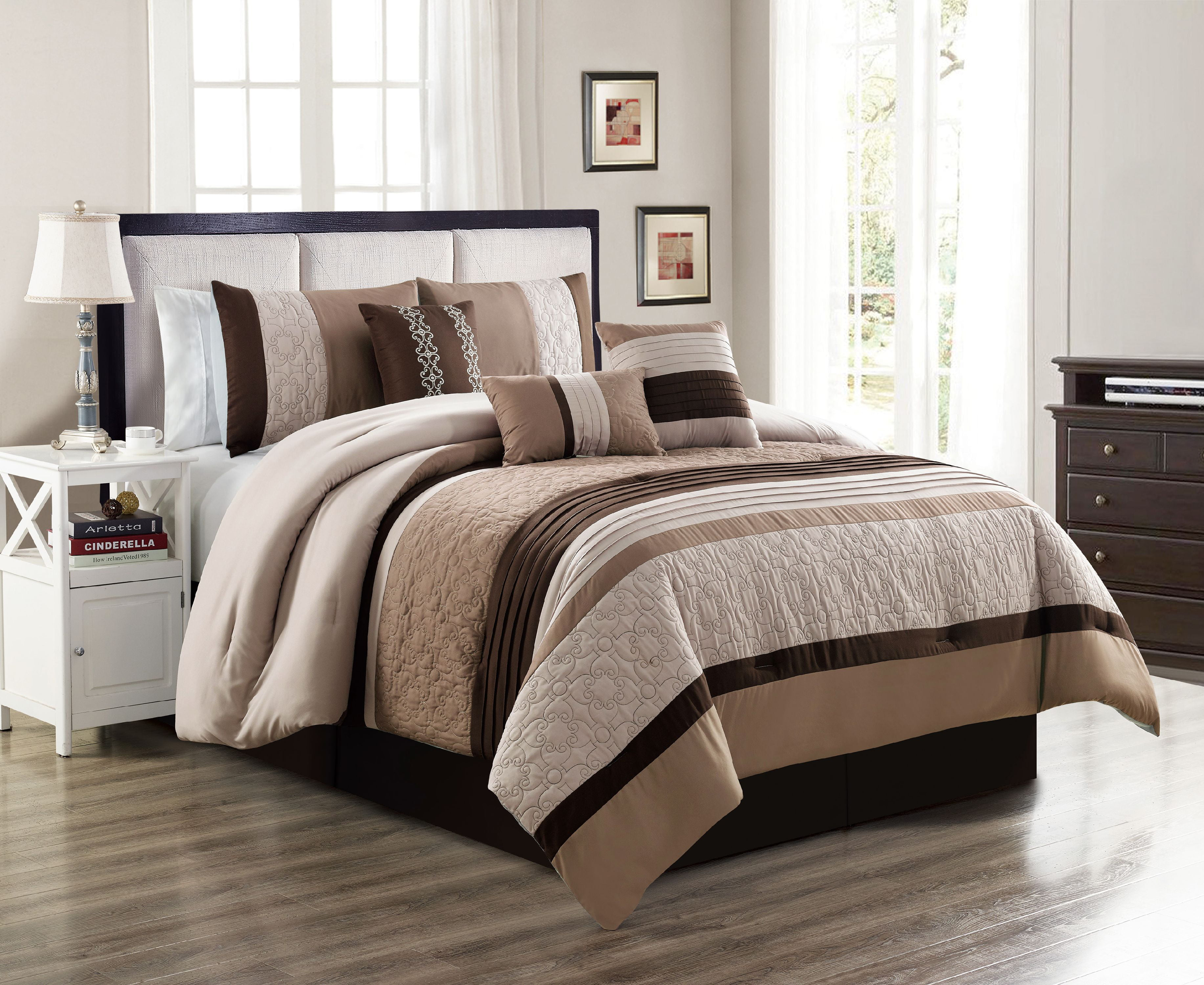 unique home 7 piece collections comforter set abstract