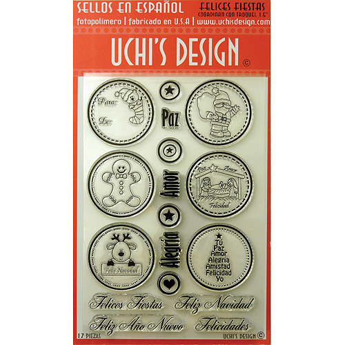 "Uchi's Design Spanish Clear Stamp Set, 4"" x 6"" Sheet, Felices Fiestas (Happy Holidays)"