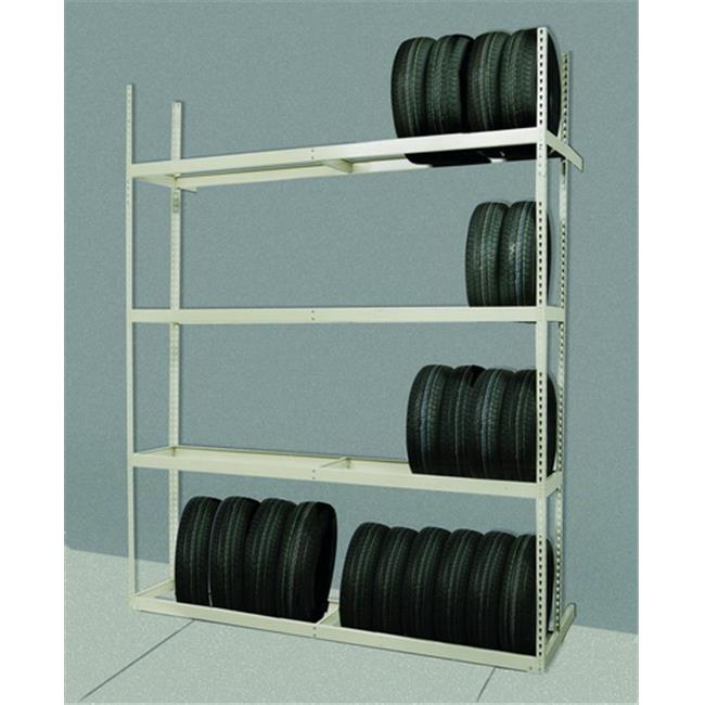Hallowell TSS6021120-4A Rivetwell, Single Row, Tire Storage Shelving 60 in. W x 21 in. D x 120 in. H 729 Parchment 4 Levels