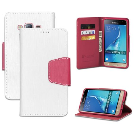 White Pink Wallet Credit Card Case Cover Stand For Samsung Galaxy Express Prime