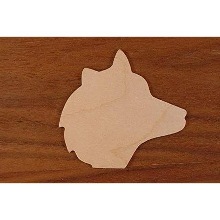 WOODNSHOP Wolf Head Wood 1/4 x 12 PKG 3 Laser Cut Wooden Wolf Head](Three Headed Wolf)