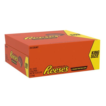 Reese's, Milk Chocolate Peanut Butter Cups King Size, 2.8 Oz, 24 Ct - Reese Pieces Halloween Size