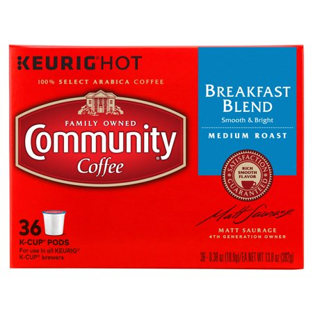 - Community® Coffee Breakfast Blend Single Serve Pods, Medium Roast, 36 Count, Compatible with Keurig 2.0 K Cup Brewers