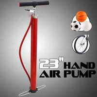 """Globe House Products GHP Portable Steel Base 23"""" Hand Air Inflator Pump with Foot Pedals & 22"""" Air Hose"""