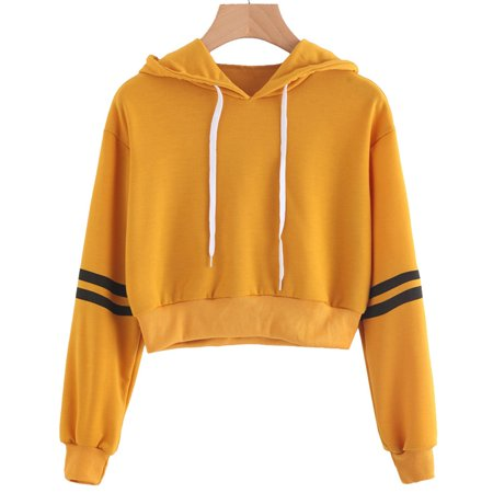 Fancyleo Women Varsity Striped Drawstring Crop Hoodie Sweatshirt Jumper Crop Pullover (Stripe Shirt Jumper)