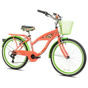 "Margaritaville 24"" Island Life Multi Speed Girl's Bike, Coral/Green, For 4'6"" Height Sizes and Up"