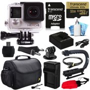 GoPro Hero 4 HERO4 Black Edition 4K Action Camera Camcorder with 32GB Must Have Accessories Kit with MicroSD Card, Battery, Charger, Large Case, Grip, HDMI, Card Reader, Cleaning Care Kit