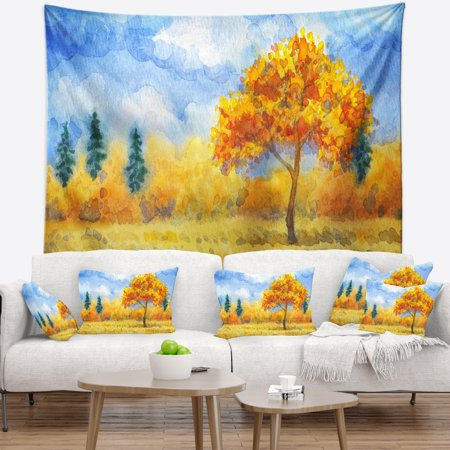 Design Art Designart Yellow Trees Watercolor Painting Landscape Wall Tapestry
