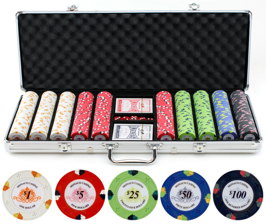 13.5g 500pc Monaco Casino Clay Poker Chips Set by