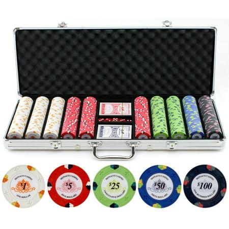 13.5g 500pc Monaco Casino Clay Poker Chips Set