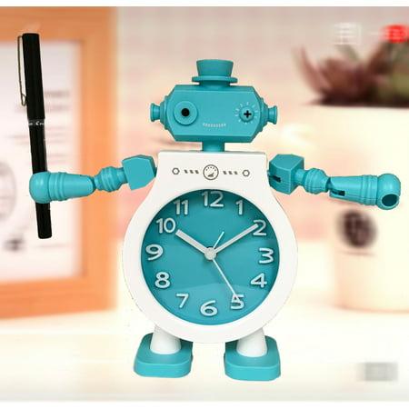 Desk Top Robot Clock For Kids Room With Adjustable Moving