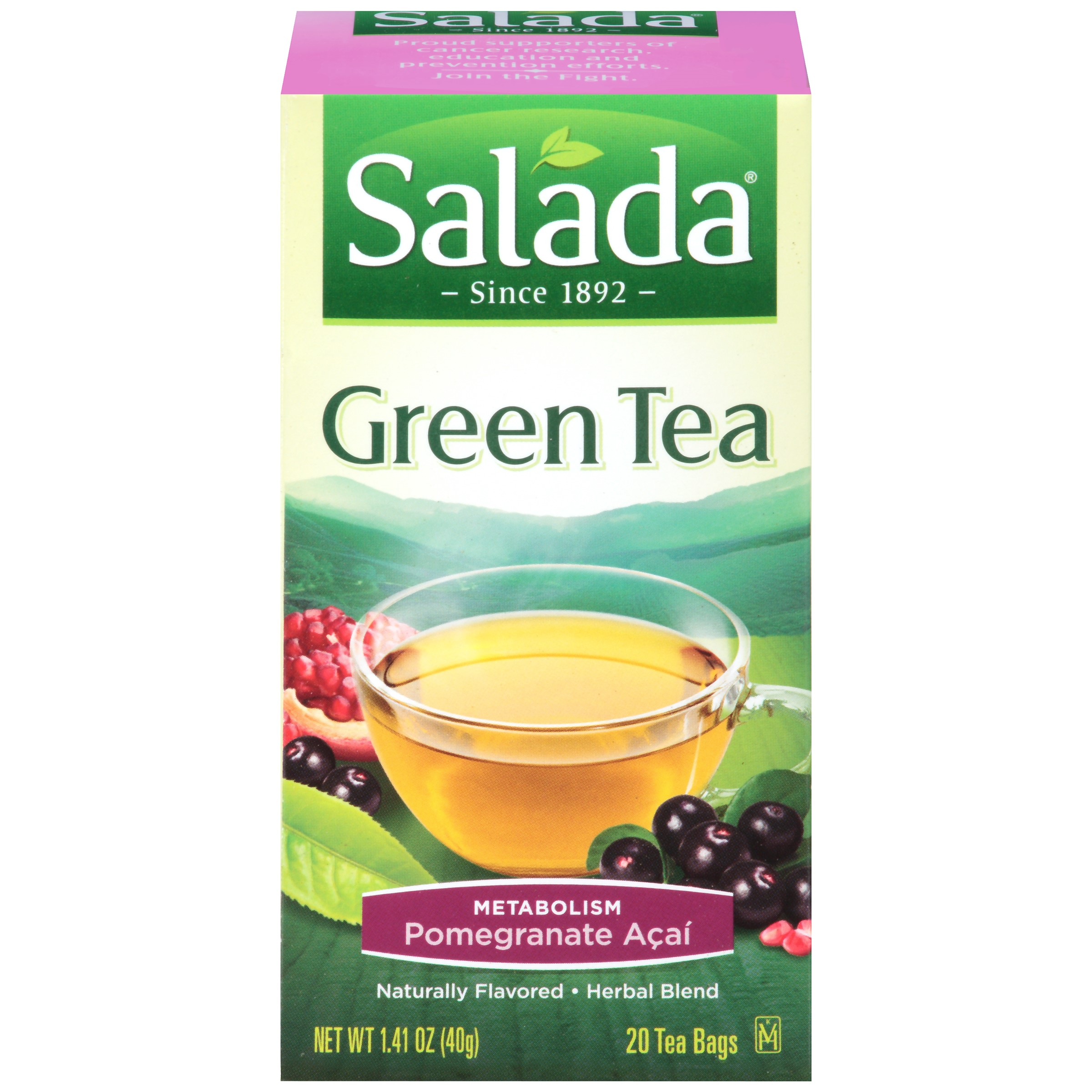 Salada All Natural Green Tea, Pomegranate Berry with Blueberry and Acai, 20 teabags, 1.41 Ounce