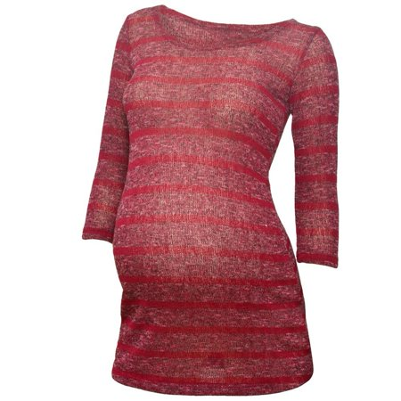 Pregnant Belly Fake (Love My Belly Women's Burgundy Stripe Pattern Maternity Tunic Dress)