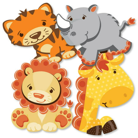 Funfari - Fun Safari Jungle - Giraffe, Lion, Tiger and Rhino Decorations DIY Baby Shower or Birthday Party Essentials - - Baby Shower Decorations Jungle Theme