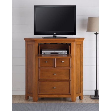 (Elegant Wooden TV Console (Corner), Cherry Oak Brown)