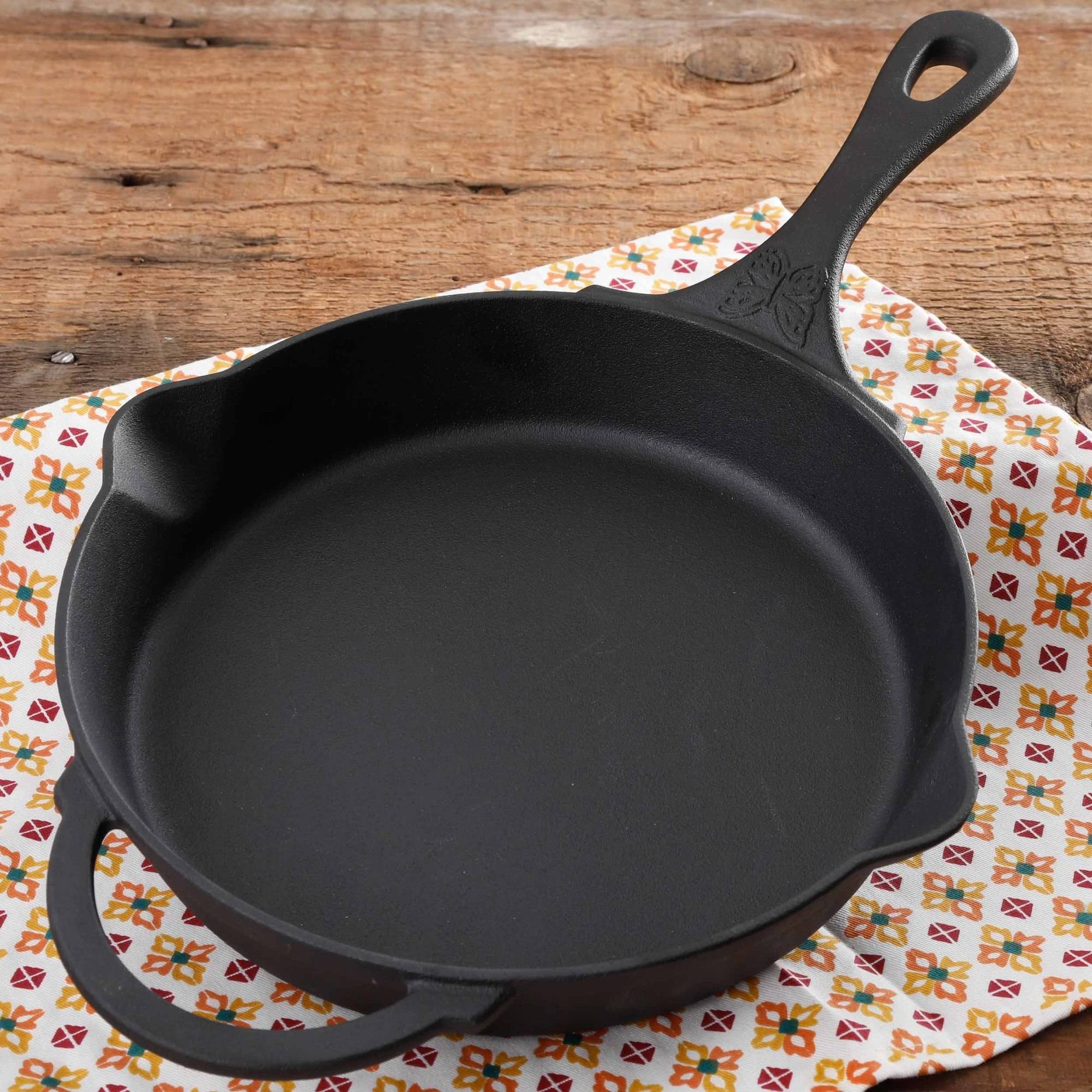 "The Pioneer Woman Timeless Pre-Seasoned Plus 12"" Cast Iron Fry Pan"
