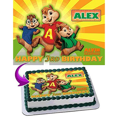 80s Cake Decorations (Alvin and the Chipmunks Edible Cake Topper Personalized Birthday 1/4 Sheet Decoration Custom Sheet Party Birthday Sugar Frosting Transfer Fondant Image Edible Image for)
