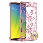 Phone Case for Samsung Galaxy Note 9 - Phone Case Slim Thin Tuff TPU Hybrid Silicone Rubber Soft Protective Phone Case Cover Hibiscus Rose Gold Transparent