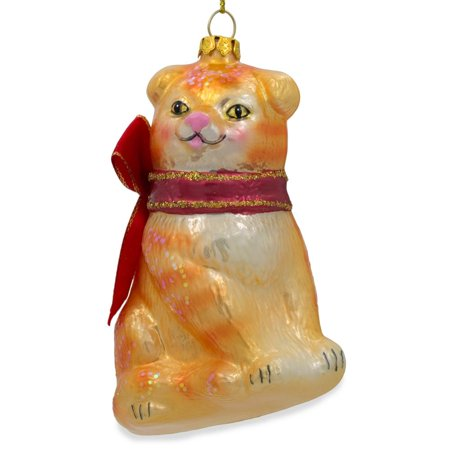 Orange Tabby Cat with the Red Bow  Glass Christmas Ornament 4.25 Inches