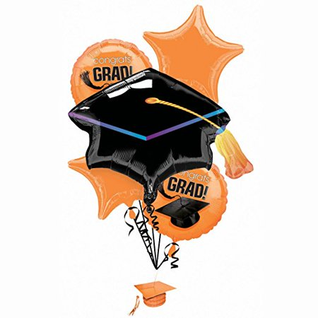 "Graduation ""Congrats Grad"" Orange Foil Balloon Bouquet"