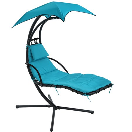 Patio Chair Hanging Chaise Lounger Chair Floating Chaise Canopy Swing Lounge Chair Hammock Arc Stand Air Porch Stand for Outdoor Indoor ()