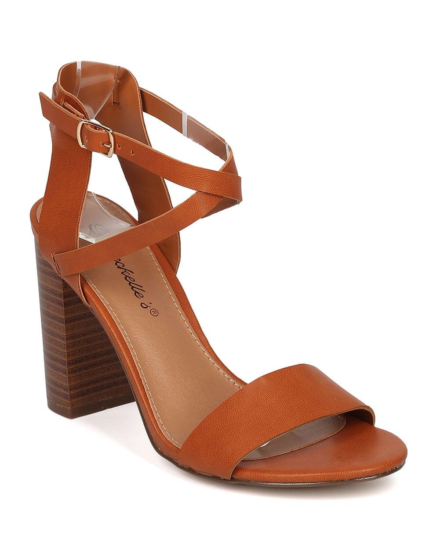 d631f12547 Breckelles - New Women Breckelles Aniston-165 PU Open Toe Cross Ankle Strap Block  Heel Sandal - Walmart.com