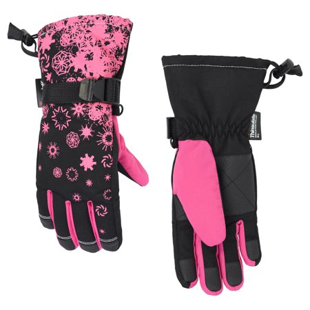 Girl's Cold Front Thinsuate Technical Snowflake Snowboard Gloves, Size 7-16 (Waterproof)