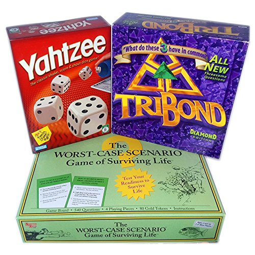 Family Game Night Board & Dice Games Set of 3 Gift Bundle Ages 8+ [3 Piece]
