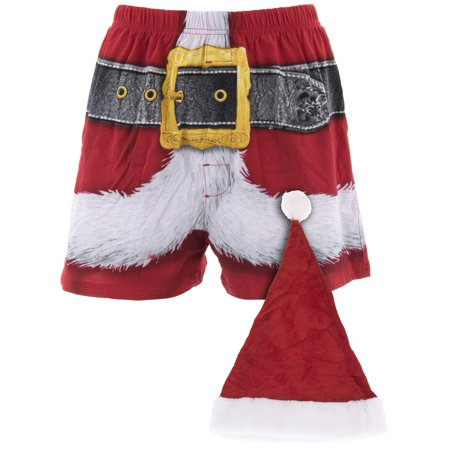 Briefly Stated Men's Santa Hat and Red Boxer Shorts - Santa Hats Bulk