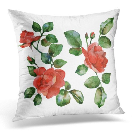 EREHome Green Watercolor of Red Flowers Roses White Hand Pillow Case Pillow Cover 20x20 inch - image 1 of 1