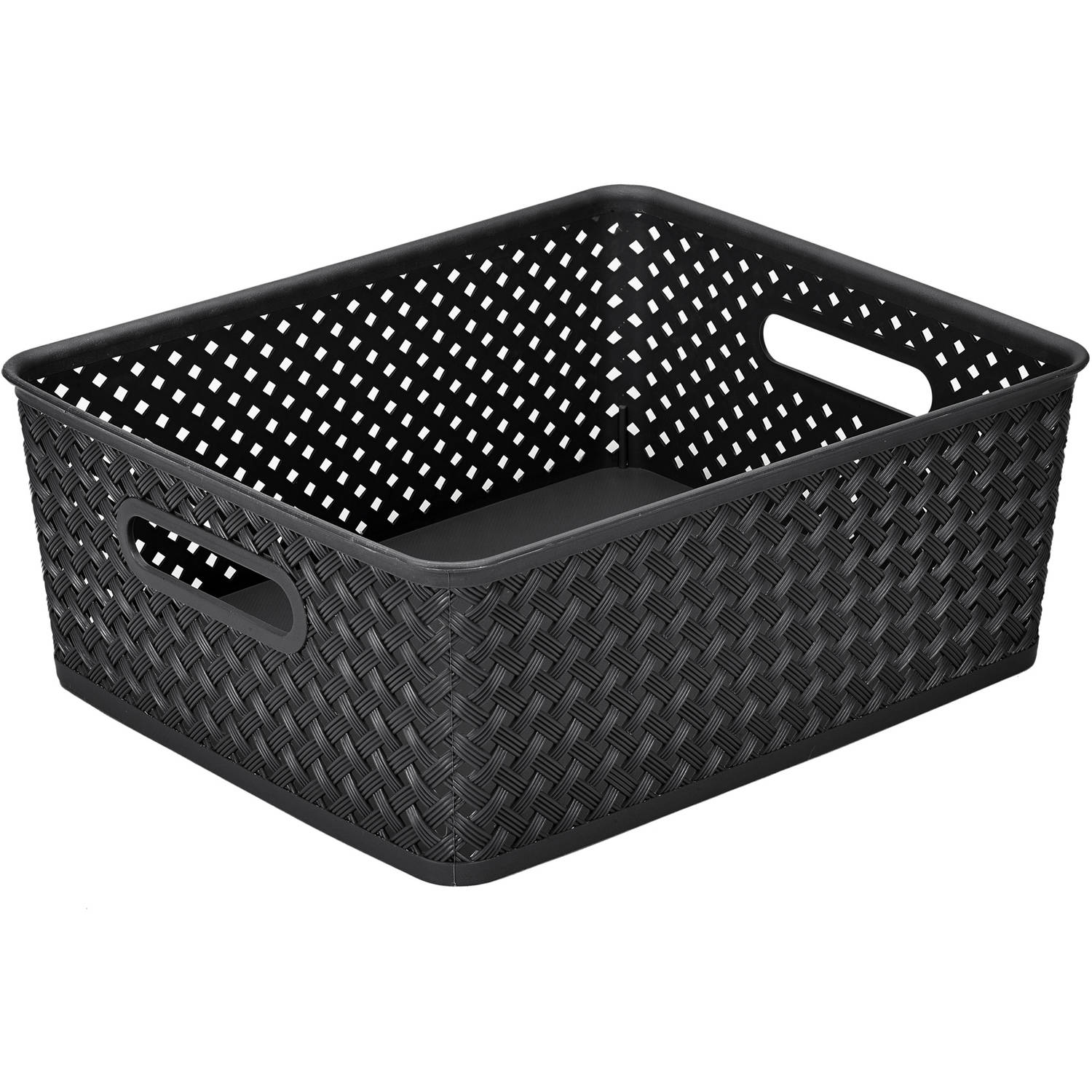 Simplify Medium Resin Wicker Storage Tote Basket Weave