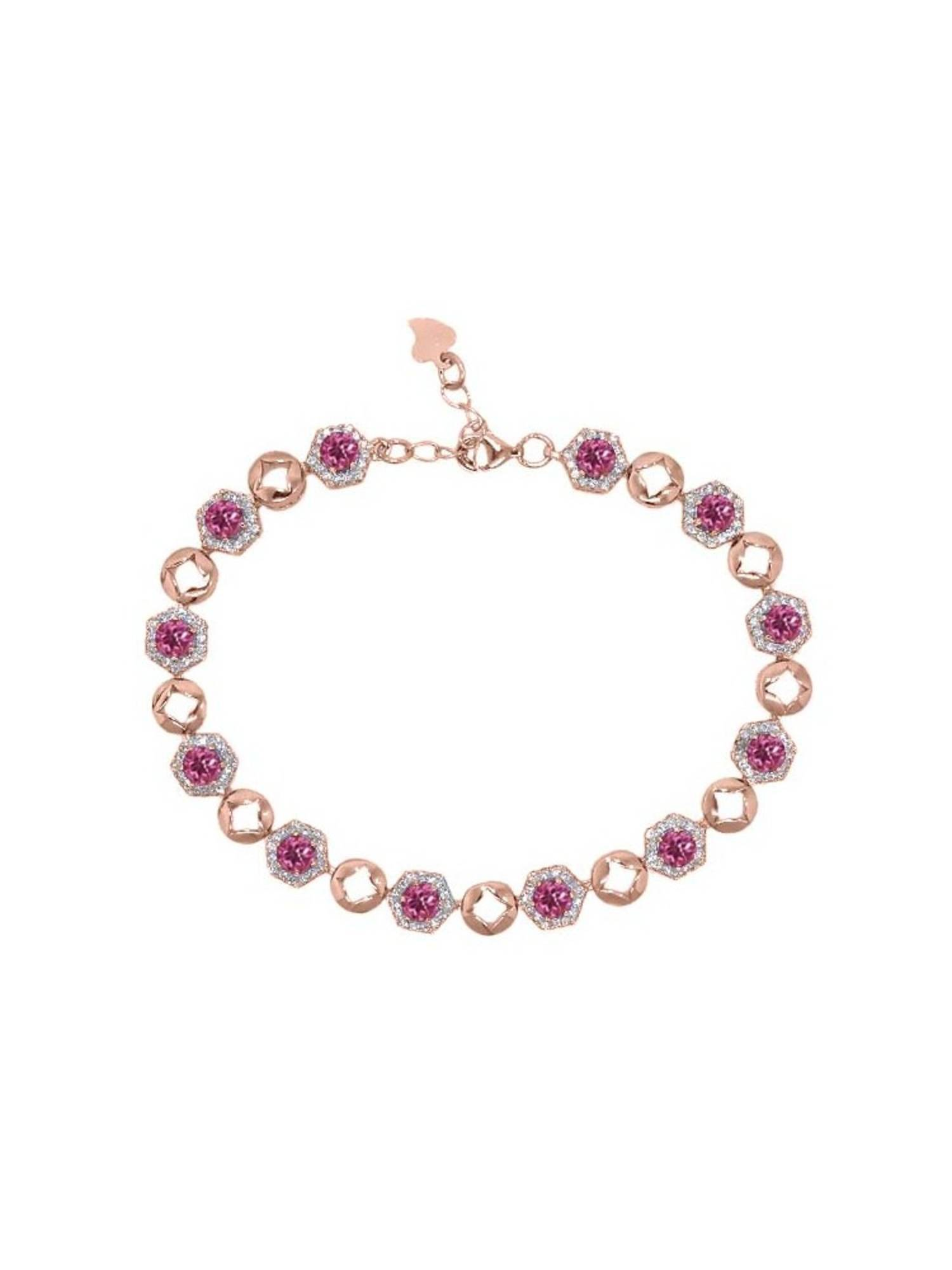 5.69 Ct Round Pink Tourmaline 18K Rose Gold Plated Silver Bracelet by