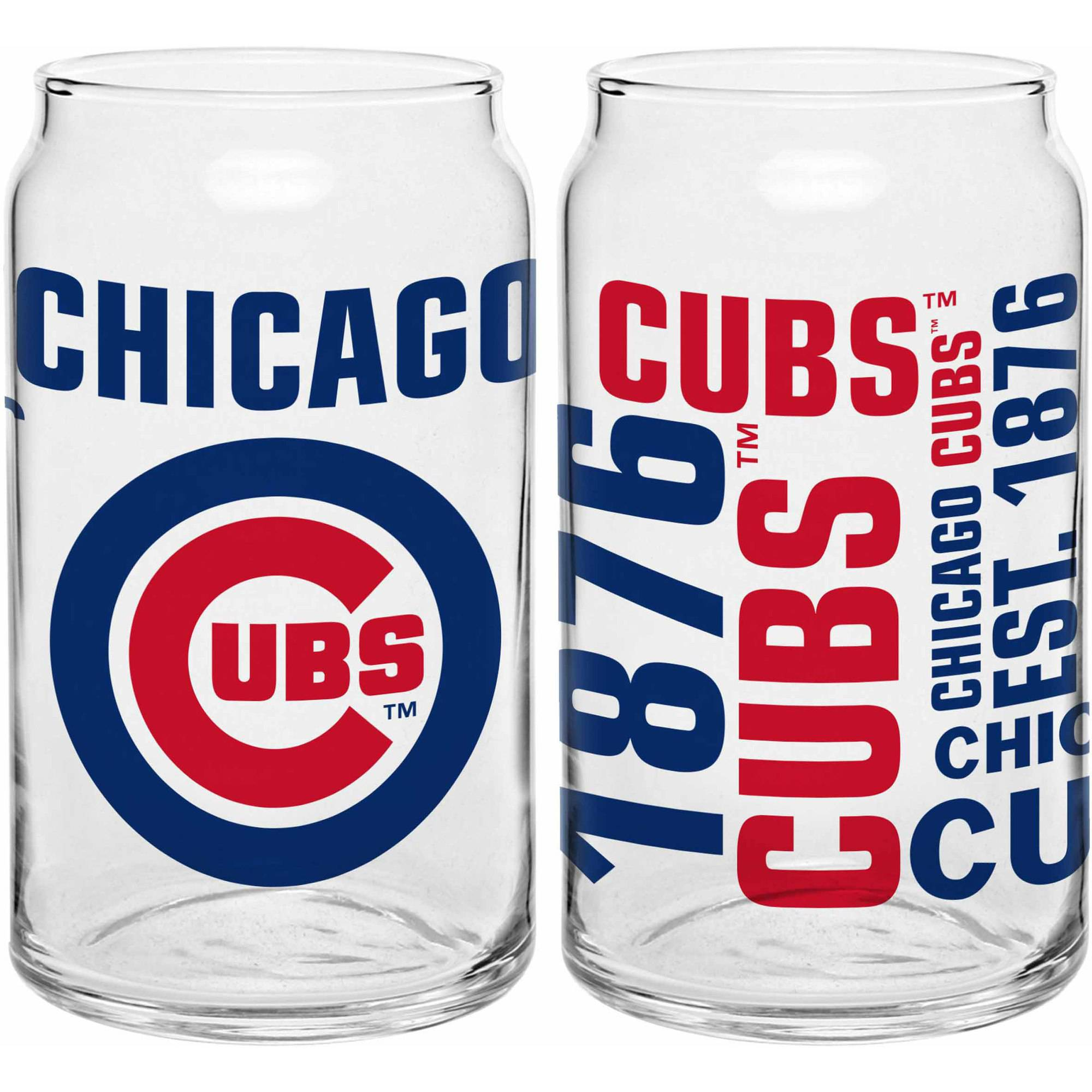 Boelter Brands MLB Set of Two 16 Ounce Spirit Glass Can Set, Chicago Cubs