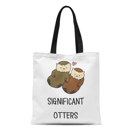 SIDONKU Canvas Tote Bag Funny Significant Otters Couple Accessories Sassy Simple Hipster Cute Reusable Handbag Shoulder Grocery Shopping Bags](Cute Couple Accessories)